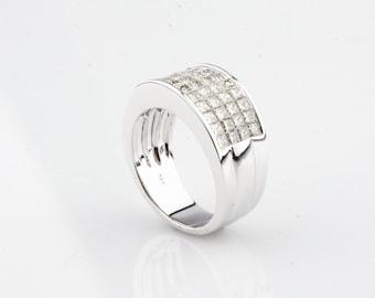14k White Gold 2.00 carat Invisible Set Princess Cut Diamond Band Ring Size 7