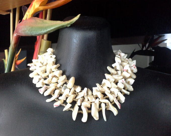 Stunning Creamy White & Pink Mother of Pearl MOP Shell Collar Necklace, Multi 4 Strand, Gold Glass Seed Beads, Tribal Style Made in Japan