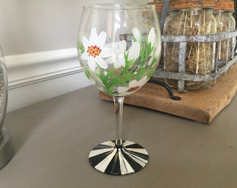 Wine glass/red wine glass/hand painted flowers/black and white stripes