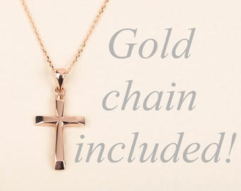 Rose Gold Cross Necklace 14K Gold Cross Pendant Personalized Cross Necklace for Men Unisex Gold Cross Necklace Gold Cross with Chain