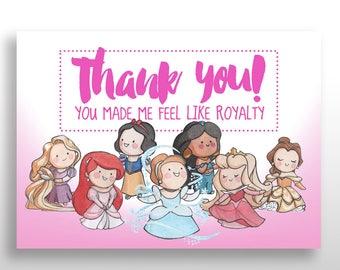 PRINTABLE Disney Princess Birthday Thank You Cards, Princess Party Theme Stationery, Instant Download, .pdf & .jpg files