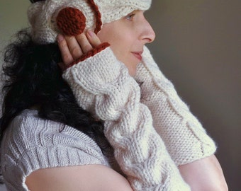 3 in 1 COMBO Winter Delight - hand knit braided cable winter set Neckwarmer Headband and Fingerless Gloves SET - choose your colors