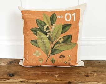 Modern Botanical 1 Pillow Cover (Burnt Orange)