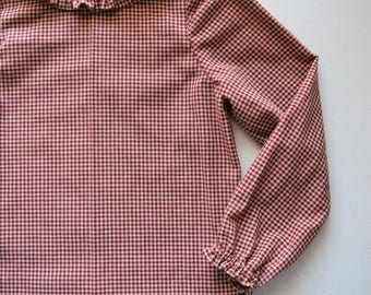 Toddler Long Sleeve Cotton Shirt Blouse in Red Plaid, Handmade by Papoose Clothing