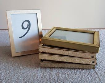 "RESERVED FOR ANNA - 2-1/4"" x 3-1/4"" gold metal & brass picture frames // 6 x 8 cm small rectangular photos, wedding or shower decor, bulk"