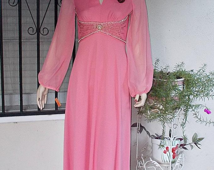 Deadstock Vintage 70s Pink Polyester Handmade Womens Long Sleeve Full Length Maxi Hostess Dress