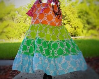 Flower Girls Dress Summer Rainbow Sherbert Dress Tiered Summer Sundress Dress 2 3 4 5 6 7 8 10