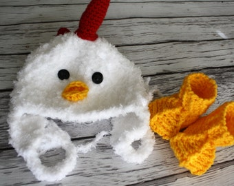 Chicken Hat and Booties Set -  Baby Chicken Hat - Chicken Feet and Bonnet - Soft Baby Costume Set - by JoJosBootique