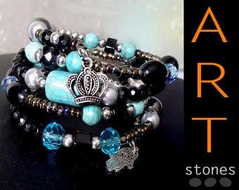 Gift Bracelet\Bracelet blue black\Bohemian gift Bracelet\Bracelet black\blue Turquoise gift bracelet\Bracelet blue stone\Bohemian Jewelry