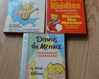 1960's-1960's Dennis the Menace Humor Books-Household Hurricane-Make Believe Angel-Riddles Riddles Riddles