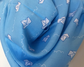 Mothers day gift, Paper boat scarf, paper boat pattern, blue scarf, paper boats, paper boat bandana, Gift under 20, Christmas gift for her