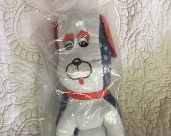 "Vintage 8"" Polka Dot Blue and White Stuffed Dog Plush - Vintage Styled Stuffed Dog New in Bag"
