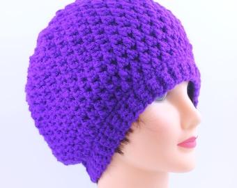 Hand Knitted Purple Beanie, Slouchy Beanie, Head Accesory, Boho-chic