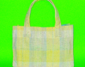 LAST ONE! Bright Yellow and Blue Plaid Linen Classic Handbag Purse