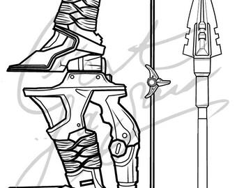 Hanzo Shimada's Bow and Arrow, Original Skin [Overwatch] - Cosplay PDF Vector Pattern Blueprint