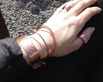 Bracelet cuff hammer blow from recycled copper | By BIEK