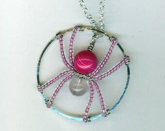 Pink Spider Pendant
