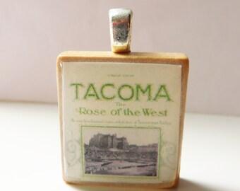 Tacoma  Rose of the West  - vintage sheet music Scrabble tile pendant