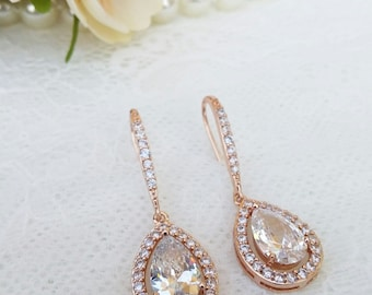 Big crystal rose gold earrings, crystal bridal earrings, crystal wedding jewelry, crystal earrings, bridal jewellery, chandalier earrings