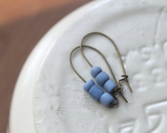 Kubu Antique Brass Wires with Periwinkle Sky Blue Handmade Indonesian Glass Beads