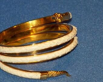 Vintage 1970's White Snake Skin Serpent Wrapped Style Bracelet