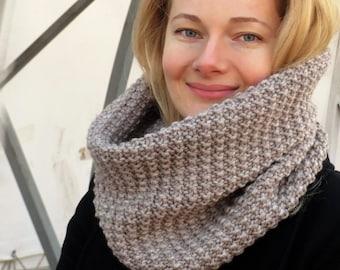 Knit infinity scarf women knit scarf women scarf women wool scarf chunky scarf knit scarf light brown scarf women beige scarf knitted item