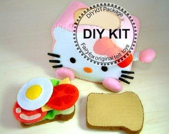 Felt toys, play food,felt Toaster and breakfast,--K-T03