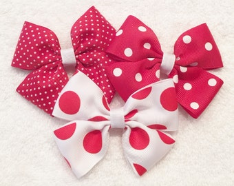 Red Polka Dot Bows | Red And White Bows | Girls Polka Dot Bows | White Polka Dot Bow | Girls Red Hair Bows