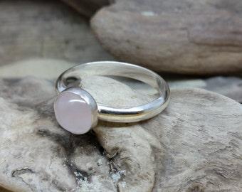 Rose Quartz Ring - rose quartz jewellery - sterling silver ring - silver ring - gemstone ring, stacking ring.