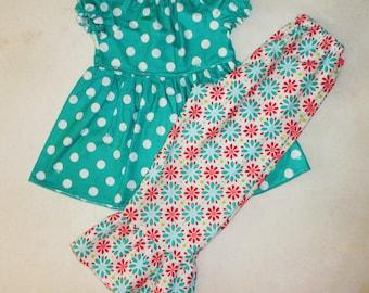 Fall Girls Ruffle Pants Outfits Peasant Top Teal Dot Girls Set 2 3 4 5 6 7 8