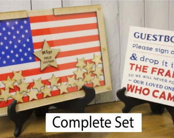Military/Police Retirement/Law Enforcement/Personalized Guest Book/Flag/Patriotic/Retirement/Wedding/Guest Book/Stars/Alternative