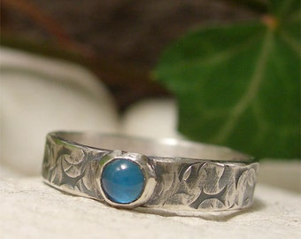 Blue Stone Ring, Blue Agate Gemstone Distressed Sterling Silver Band Ring, Rustic Mens or Womens Ring, Hand Forged Hammer Textured Jewelry