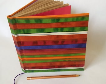 hand bound hard cover hand painted journal square striped purple green and ochre