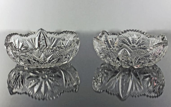 Antique American Brilliant Bowls, Set of 2,  Small, Cereal Bowls, Dessert Bowls, Cut Glass Bowls