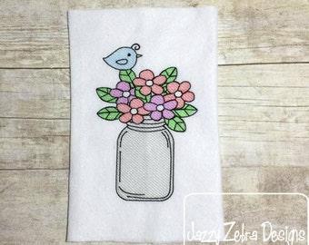 Mason Jar with Flowers and Bird Sketch Embroidery Design - flowers Sketch Embroidery Design - mason jar Sketch Embroidery Design - bird