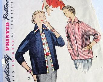 Vintage Pattern, Jacket Pattern, Vintage Jacket, Pattern, Vintage, Jacket, Cardigan, Button Up, Simplicity, Simplicity 4554, 50s