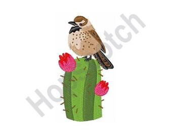 Desert Bird - Machine Embroidery Design, Cactus Wren