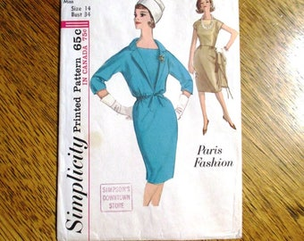 "Mid Century Modern 1950s Dress w/ Bateau Neckline & Jacket (PARIS Fashion) - Size 14 (Bust 34"") - VINTAGE Sewing Pattern Simplicity 5093"