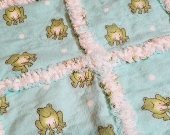Rag Quilt, Security Blanket, Quilt, Pet Pad, Baby, Toddler, Frogs, Blue, White, Green, Flannel