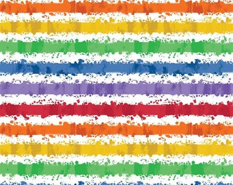 Crayola Art Box Stripes on White Cotton Woven by Riley Blake Designs