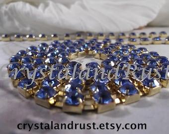 6mm Capri Blue Rhinestone Cup Chain --- Gold Base Metal --- 1 yard (35 inch)