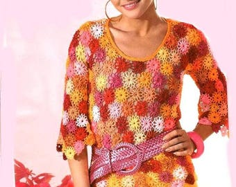 Crocheted colorful flower sweater / order