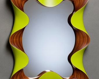 """Modern Wall Mirror - """"Taffy Mirror"""" in carved and painted walnut"""