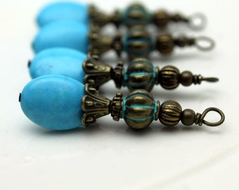 Vintage Style Flat Oval Turquoise and Brass Bead Dangle, Charm, Pendant, Earring Dangle, Drop Set