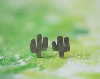 Prickly - Cactus Stud Earrings in Sterling Silver
