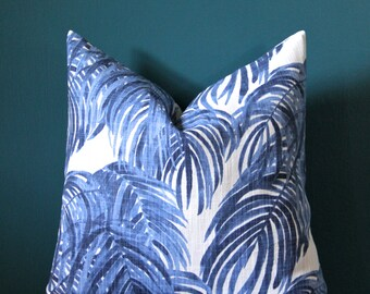 Tropical Pillow Cover - Palm Leaf Pillow Cover - Island Decor - Blue and White Pillow Cover - Botanical Pillow - Caribbean Decor - Palm