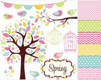 Clipart Combo - Bohemian Spring Garden / Birds / Easter Clip Art / Digital Clipart - Instant Download