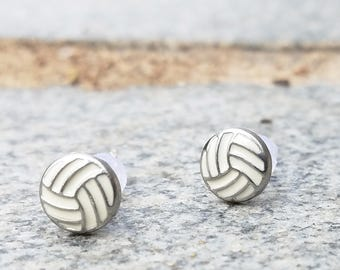 Volleyball plastic post earrings for sensitive ears