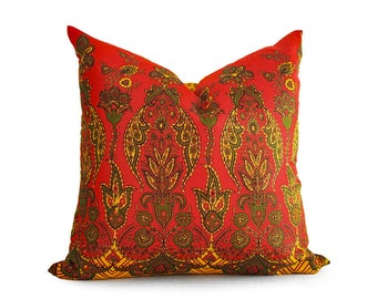 Boho Floor Cushions, Bohemian Pillow Covers, Red Boho Pillows, Indian Pillows, Yellow Red Sari Pillow, Bright, Choose ONE / 3 Styles, 18, 20