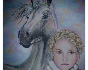 Original 8 x 8 Horse and Girl Fine Art Print, Inspirational, Home Decor, Nursery room, Pastel, Winter, Soft Girl Portrait,